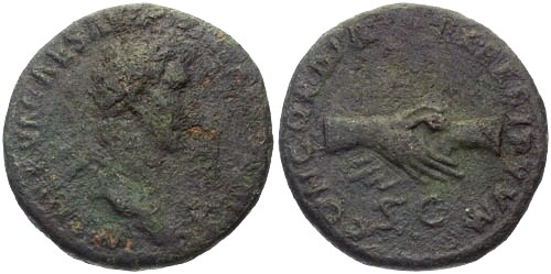 Ancient Coins - VF/VF Nerva AS / Clasped Hands