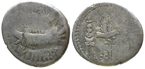 Ancient Coins - F/F Mark Antony Legionary Denarius / Prow