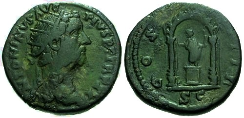 Ancient Coins - aVF/aVF Antoninus Pius AE Dupondius / Shrine