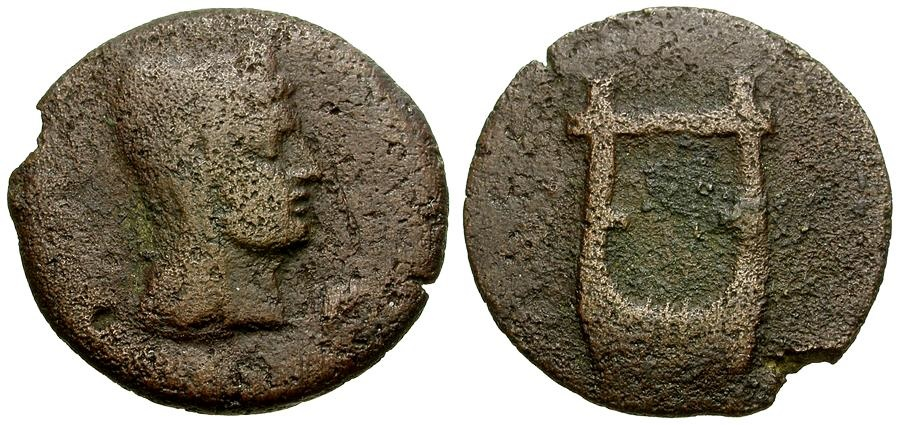Ancient Coins - North Africa. Byzacium. Thapsus. Time of Augustus Pseudo-Autonomous Issue Æ23 / Kithara