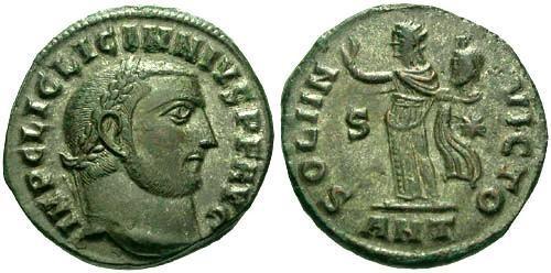 Ancient Coins - VF/VF Licinius I Silvered Follis / Sol Holding Head of Serapis