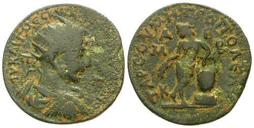 Ancient Coins - gF/gF Trajan Decius AE33 Cilicia Tarsus / Apollo