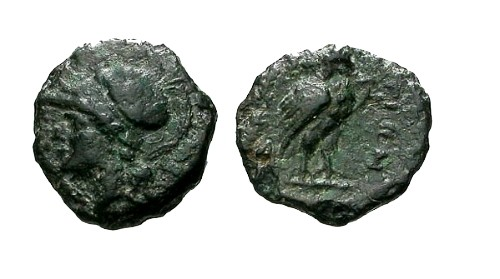 Ancient Coins - VF/VF Bruttium The Bretti AE12 / Owl