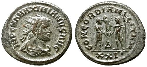 Ancient Coins - EF/EF Maximianus Pre Reform Silvered Antoninianus / Emperor and Jupiter