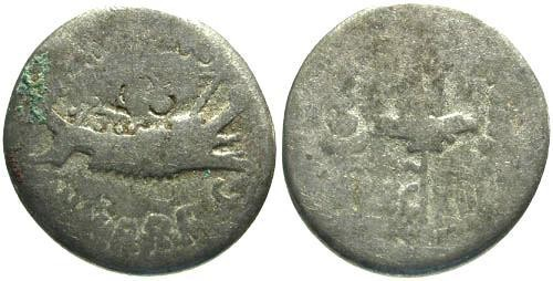 Ancient Coins - F/VG Mark Antony Legionary Denarius / Legion XV