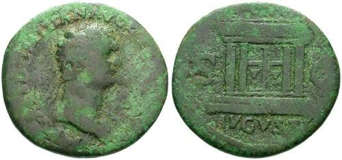 Ancient Coins - F+/F Domitian AS Nice Green Patina / Altar