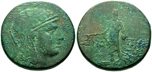 Ancient Coins - aVF/aVF Sinope Paphlagonia AE29 / Athena and Perseus
