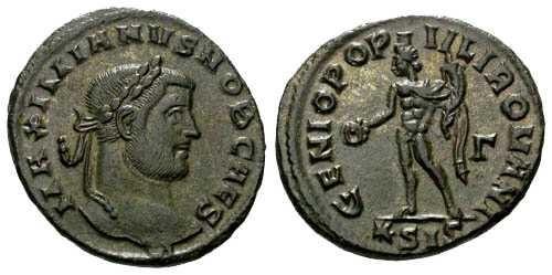 Ancient Coins - EF Galerius Follis / Genio