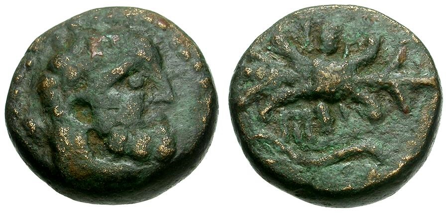 Ancient Coins - Pisidia.  Selge Æ12 / Herakles and Thunderbolt