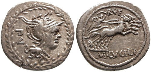Ancient Coins - VF/VF Lucilia 1 Roman Republic Denarius / Victory in Biga