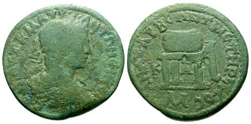 Ancient Coins - gF/gF Elagabalus Cilicia Anazarbus AE28 / Prize urn