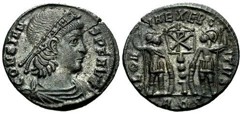 Ancient Coins - EF/EF Constans as Augustus AE4 / Two soldiers and One Standard