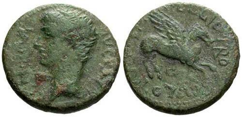 Ancient Coins - VF/VF Caligula AE20 Corinth / Pegasus