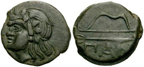 Ancient Coins - VF/VF Pantikapaion AE / Pan and Bow and Arrow