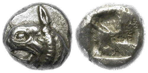 Ancient Coins - chEF Ionia Phokaia Archaic AR Hemidrachm / Griffin Head