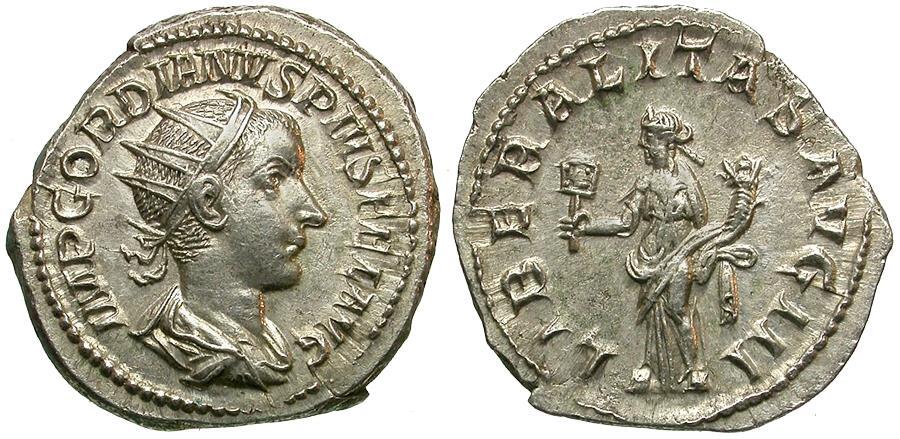 Ancient Coins - Gordian III (AD 238-244) AR Antoninianus / Liberalitas