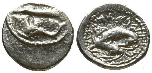 Ancient Coins - EF AR 1/8 Shekel Byblos / Hippocamp & Lion attacking Bull