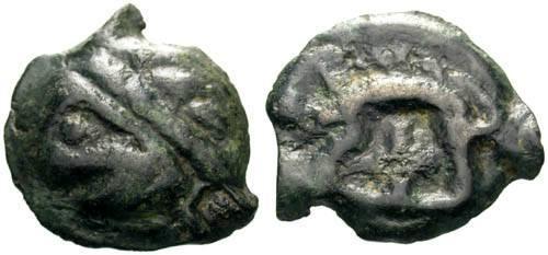 Ancient Coins - aVF/aVF Leuci Tribe Potin / Wild Man & Boar