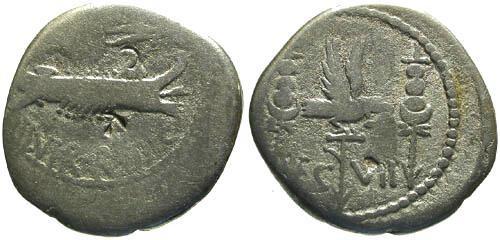 Ancient Coins - F/gF Mark Antony Legionary Denarius / Legion VII
