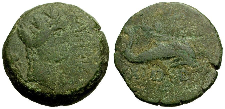Ancient Coins - Spain.  Carteia Æ18 / Cupid Riding Dolphin