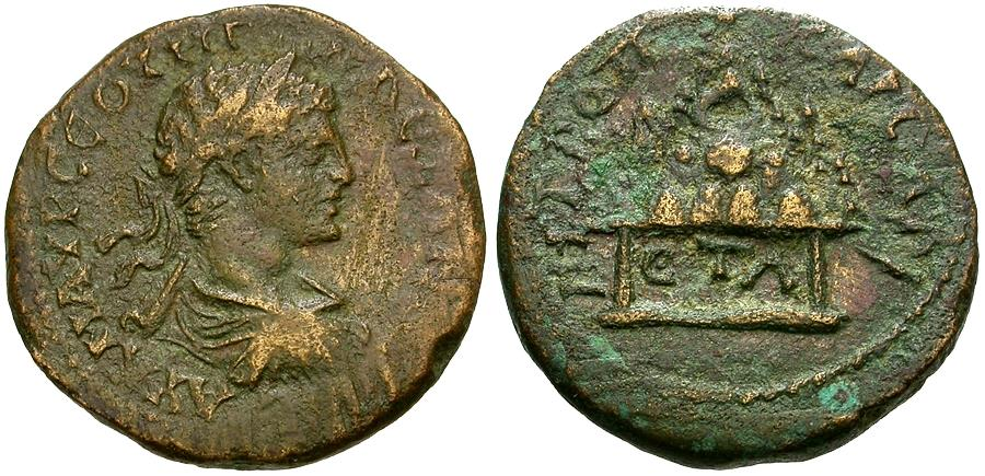 Ancient Coins - Severus Alexander (AD 222-235). Cappadocia. Caesarea Æ26 / Mt. Argaeus on Altar