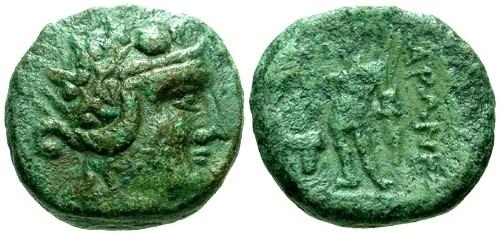 Ancient Coins - VF/gF Thrace Maroneia AE17 / Dionysos