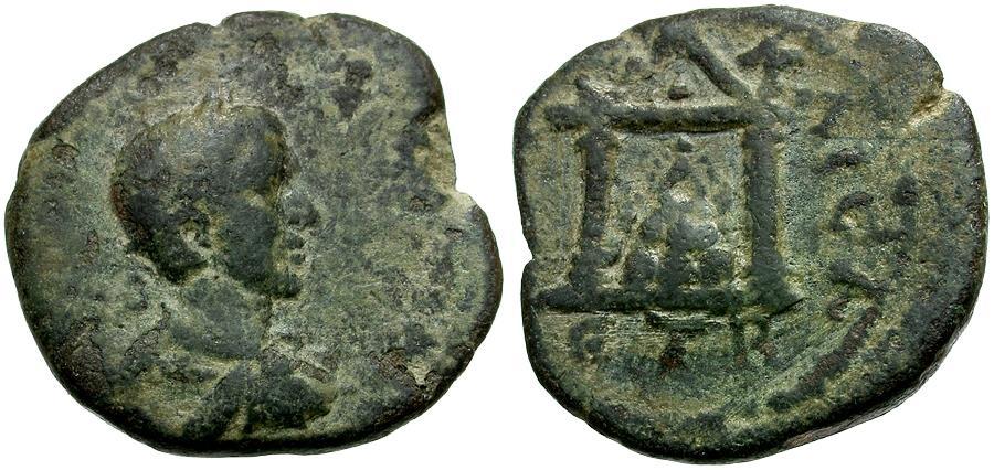 Ancient Coins - Macrinus. Cappadocia. Caesarea Æ18 / Mt. Argaeus in Temple