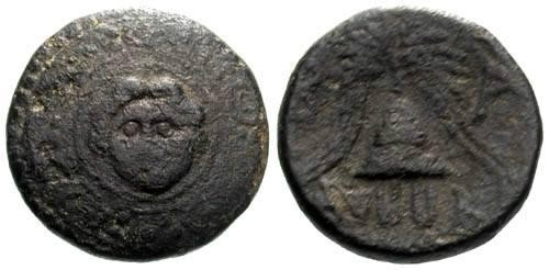 Ancient Coins - F/F AE16 Macedon Anonymous issue / Gorgon & Helmet