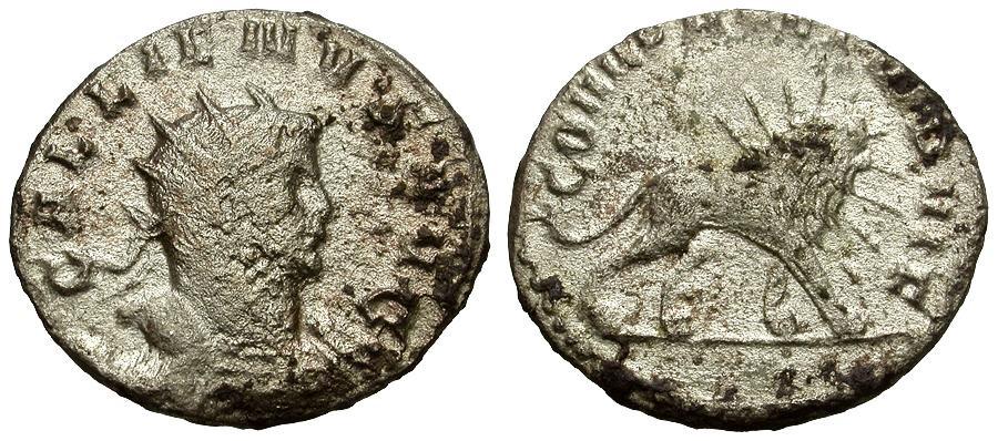 Ancient Coins - Gallienus AR Legionary Antoninianus / Radiate Lion