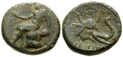 Ancient Coins - aVF/aVF Syria Seleukos I AE20 / Horned Elephant