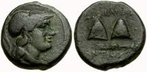 Ancient Coins - Seleukid Kingdom. Antiochos I Æ17 / Pilei on Club