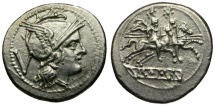 Ancient Coins - 211-208 BC - Roman Republic. Anonymous AR Quinarius / Dioscuri