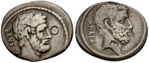 54 BC - Roman Republic. L. Junius Brutus and C. Servilius Ahala AR Denarius