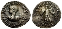 Kings of Baktria. Menander I Soter. Taxila-Pushkalavat Mint AR Drachm