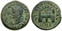 Ancient Coins - Tiberius. Spain. Emerita. Augusta Æ27 / City Gate and Walls