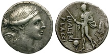 Ancient Coins - 108-107 BC - Roman Republic. L. Valerius Flaccus AR Denarius / Mars