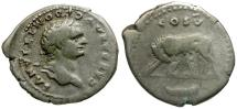 Ancient Coins - Domitian AR Denarius / Wolf and Twins