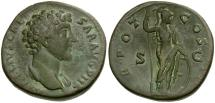 Ancient Coins - Marcus Aurelius as Caesar Æ Sestertius / Minerva