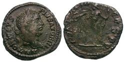 Ancient Coins - Caracalla Æ Limes Denarius / Muled Dies