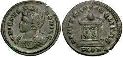 Ancient Coins - Crispus Æ3 / Globe on altar