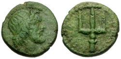 Ancient Coins - VF/VF Sicily Syracuse Fifth Democracy Æ15 / Poseidon / Trident