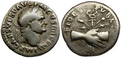 Ancient Coins - Vespasian AR Denarius / Clasped Hands