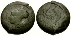 Ancient Coins - gF+/gF+ Sicily, Syracuse Dionysos I Æ Drachm / Dolphins and Star