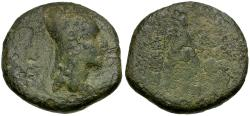 Ancient Coins - Kings of Armenia. Tigranes II Æ 2 Chalkous / Tyche seated