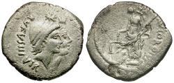 Ancient Coins - 46 BC - Roman Republic. Mn. Cordius Rufus AR Denarius / Venus