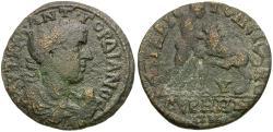 Ancient Coins - Gordian III (AD 238-244). Lydia. Germe. Aelius Aristoneicus, magistrate Æ27 / Nemean Lion