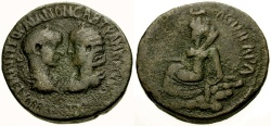 Ancient Coins - Gordian III and Tranquillina, Mesopotamia Singara Æ30 / Tyche Seated