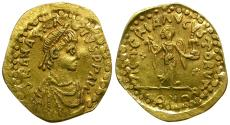 Ancient Coins - *Sear 8* Uncertain Germanic Tribe. Pseudo-Imperial AV Tremissis