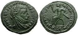 Ancient Coins - VF/VF Divus Constantius I Æ4 / Emperor Seated
