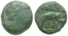 Ancient Coins - Seleukid Kingdom. Antiochos III the Great (222-187 BC) Æ9 / Elephant